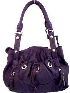 Price of AUTHENTIC B. MAKOWSKY Grape Purple GLOVE LEATHER Double Handle POCKET SHOPPER ( Handbags - Purses - Totes for Women )