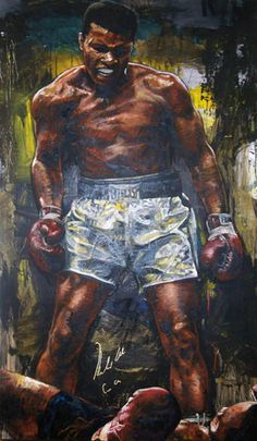 Muhammad Ali Over Sonny Liston, PSA-DNA hologram by Stephen Holland, Original Painting, Oil on Wood