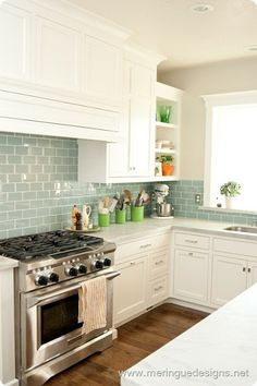 This is the colour scheme I'm after... Love these Blue Glass Subway Tiles