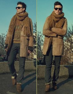 Zara Boots Wit Fur Lining, Whyred Jeans, Gift Scarf, Imperial Camel Leather And Shearling Coat, Vintage Sweater