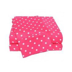 Twin Pink Polka-dot Sheet Set Twin 3 Piece Dot Bedding Cotton Blend 600 Thread  #Dots
