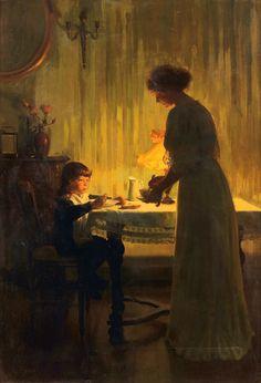 Marcel Rieder, Mère et enfant dans un intérieur
