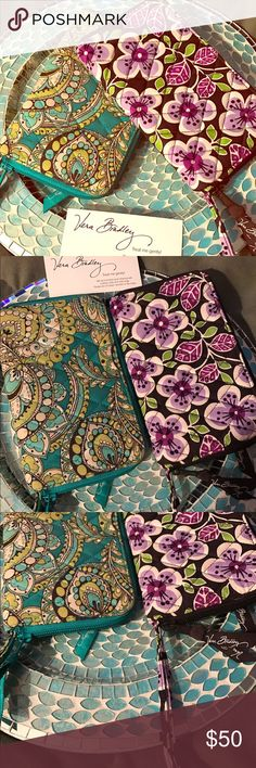 """🎉HP! Vera Bradley Large Zippie Wallet Set 💐 $120 VALUE! Discontinued! Large Zip Around Wallet/Wristlet Set! Blue/green print- excellent interior, very minor signs of exterior wear. Purple, brown & green design- flawless exterior, small stain on interior, right above clear ID slot. 8"""" long, 4 1/2"""" wide, Wristlet strap is 5"""" long. 2 bill/receipt slots, 6 card slots on one side, clear ID and extra card slot on the other side. Exterior change pocket, pen holder on inside, wristlet straps pull…"""