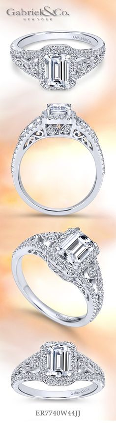 Gabriel & Co.-Voted #1 Most Preferred Fine Jewelry and Bridal Brand. Meet Marlena - Gorgeous 14k White Gold Emerald Cut Halo Engagement Ring. Intricate pave diamond and milgrain details elevate the tapered band which showcases an emerald cut diamond.