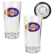 Los Angeles Lakers NBA 2-pc Basketball Bottom Pint Ale Glass Set | Man Cave Kingdom