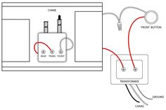 Vintage diagram showing how to wire door chime to three