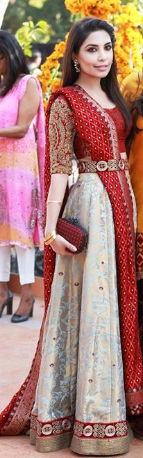 Red and powder blue lehenga with waist belt