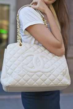 f65c8c84049c Chanel Grand Shopping Tote white or beige with gold hardware...there is  Chanel