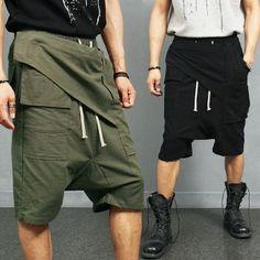 Front Cover Drop Crotch Linen Cropped Baggy Short Pants