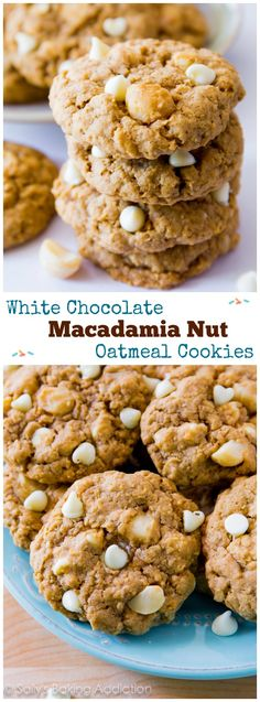 A new favorite cookie recipe! White Chocolate Macadamia Nut Oatmeal Cookies - buttery, soft-baked, and ultra chewy.