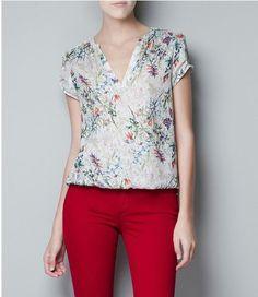 Blusa Seda Decote V Estampa Floral - Sob Encomenda