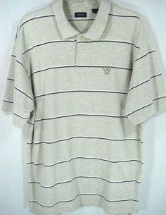 Izod Men Polo Golf Shirt Size XL Cotton Beige White Blue #Izod #PoloRugby