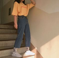Fashion, Retro outfits, Vintage outfits, Fashion o Retro Outfits, Vintage Outfits, Mode Outfits, Trendy Outfits, Casual Korean Outfits, 80s Style Outfits, Soft Grunge Outfits, Yellow Outfits, Kpop Fashion Outfits