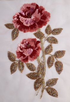 Wonderful Ribbon Embroidery Flowers by Hand Ideas. Enchanting Ribbon Embroidery Flowers by Hand Ideas. Zardozi Embroidery, Hand Embroidery Dress, Tambour Embroidery, Couture Embroidery, Embroidery Fashion, Silk Ribbon Embroidery, Hand Embroidery Designs, Beaded Embroidery, Embroidery Stitches