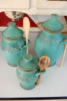 Kitchen Canister Set of Three in Turquoise - Made to Order. $275.00, via Etsy.