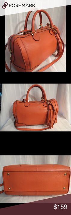 "Fab 4 FALL  NEW  BR Leather Satchel Cross Body NEW Without Tags Banana Republic orange leather beyond gorgeous  All of my items are absolutely positively guaranteed 100% genuine, I do not sell FAKE anything!     Height: 10""  Width: 14""  Depth: 9""  Strap Drop 22""  No Trades (S081) Banana  Republic Bags"