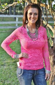 Neon Pink Lace Blouse $13.95-$20.95 www.gugonline.com