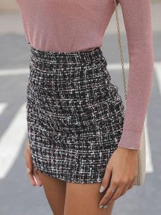 High Waist Mini Tweed Skirt