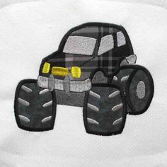 Monster Truck Embroidered and Applique Quilt Block