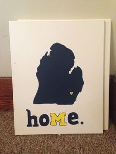 Acrylic on canvas: Michigan outline with heart over Ann Arbor