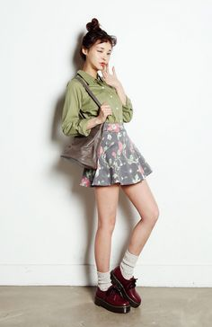 olive dress shirt and floral circle skirt