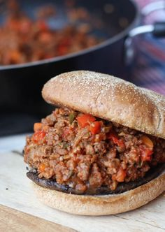 These vegan Sloppy Joes with Roasted Portobello Mushrooms are a healthy alternative to everyone's favourite childhood comfort food.
