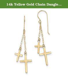 14k Yellow Gold Chain Dangle Cross Shepard Hook Earrings (2.2IN Long x 0.5IN Wide). Length: 56MM x Width: 12MM / Polished / Shepherd hook / Dangle / Solid 14k Yellow Gold ( not gold-filled, not gold-plated).