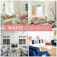 The room always seems so fresh and inviting when done in tones of white and taupe, love these white living room ideas