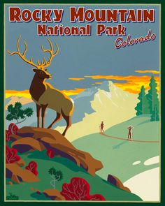 "Rocky Mountain National Park Poster Art by Steve Lowtwait. ""It's not uncommon to see elk grazing int the shadows of the 14,259 ft. high Longs Peak."" {A meaningful piece of poster.}"