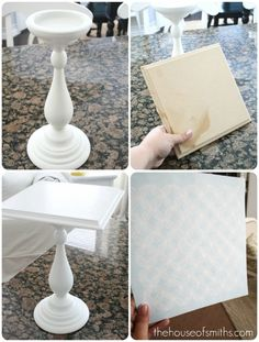 ***I want to do this*** Previous Pinner said -- 'Cake pedastal' ..... can make a bunch of your own pedestals from stuff at Home Depot. Cake And Cupcake Stand, Cupcake Cakes, Stencil Diy, Diy Rangement, Cake Plates, Diy Cake, Creations, Diy Projects To Try, Diy Home Decor