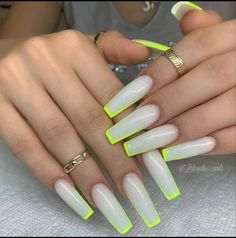 53 Hottest Acrylic Coffin Nails Design For Spring Long Nails - Latest Fashion Trends For Woman Neon Acrylic Nails, Acrylic Nail Designs, Neon Nail Designs, Aycrlic Nails, Swag Nails, Pink Tip Nails, Neon Green Nails, White Tip Nails, Stiletto Nails