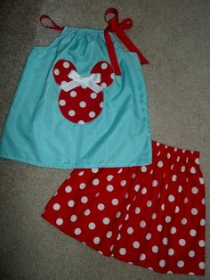 Perfect for your Disney Cruise or Vacation! Minnie Mouse Outfit - Swing top or dress and polka dot skirt.