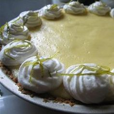 Easy Key Lime Pie -   4 egg yolks, 2 cans sweetened condensed milk, and 1 cup of lime juice - increase baking time to 20-25 mins.
