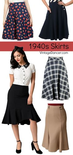 Women's 1940s style skirts. High waist, A-line, plaid, polka dot, novelty prints at VintageDancer.com/1940s