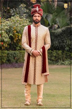 Intricate Cream Sherwani with Churidar - Manyavar Mens Wedding Wear Indian, Sherwani For Men Wedding, Sherwani Groom, Indian Bride And Groom, Wedding Men, Wedding Couples, Wedding Outfits For Groom, Groom Wedding Dress, Groom Dress