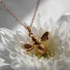 Personalised Gold Bee Necklace - charm jewellery