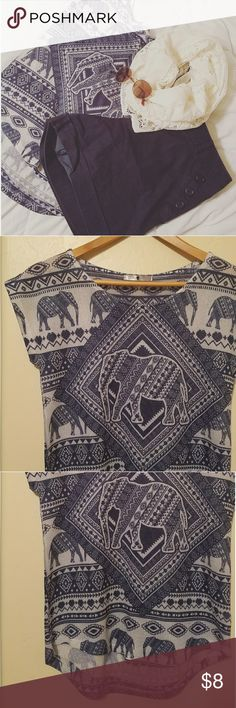 Blue and White Elephant Tee Size Medium This listing is for a knit blue and white tee with an Elephant tribal pattern by Blu Planet. No size tag, but most likely a S/M. Brand new only worn once with no flaws.   Navy high waisted sailor shorts going up for sale soon in my shop! Bundle and save 💕  Any questions please contact me! No trades Willing to negotiate 🌵 Blu Planet Tops Tees - Short Sleeve