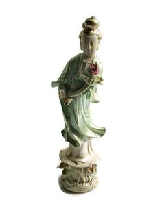 Porcelain Kwan Yin Figurine with Removable Hand by VintageBlohms Prayer For Help, Buddhist Traditions, Luminous Colours, Guanyin, Deities, Buddha, Porcelain, Statue, Hong Kong