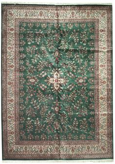This beautiful Handmade Knotted Rectangular rug is approximately 9 x 13 New Contemporary area rug from our large collection of handmade area rugs with Persian Lilian style from India with Wool