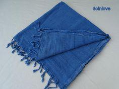 Stone washed blue colour Turkish soft cotton bath towel, beach towel, travel towel.