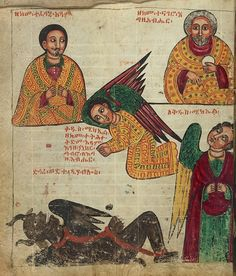 """17th century Ethiopian manuscript: the miracles of the archangel Michael -  """"The Archangel paying tribute to Adam"""""""