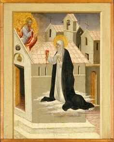 Painting by Giovanni di Paolo (Siena, 1398-1482), ca. 1460, Saint Catherine of Siena Exchanging Her Heart with Christ, Tempera and gold on wood. Catherine of Siena, a Sienese mystic as well as minister to the poor and plague-stricken. They were commissioned after her canonization in 1460 and are based on the biography written by her confessor, Raymond of Capua.