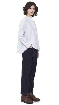 WOMEN AUTUMN WINTER 15 - White/blue cotton Swing Shirt MHL, indigo cotton Peak Back Work Trouser MHL, brown leather Derby Boot MHL