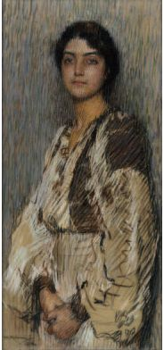"Florence Rodway, ""The Romanian Blouse,"" ca.1912, pastel, 101.9 x 47.6cm (40 x 19 in), Christies sale, Melbourne, 2004"