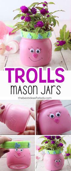 Make these adorable Trolls Mason Jars.