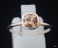 Handmade peach Sapphires in a sterling Silver ring by ReneJewelry, $125.00