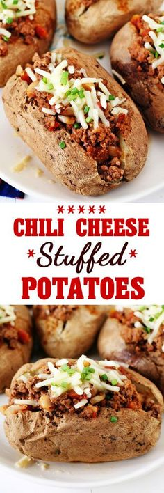 Chili Cheese Stuffed Potatoes #chili #potatoes