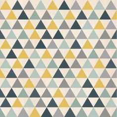 Grained vinyl wallpaper on non-woven wallpaper. Pattern: Scandinavian triangles yellow, blue and gray. Grey Triangle Wallpaper, Geometric Shapes Wallpaper, Vinyl Wallpaper, Graphic Wallpaper, Scandinavian Kids Rooms, Toddler Rooms, Yellow Pattern, Living Room Grey, Kid Spaces