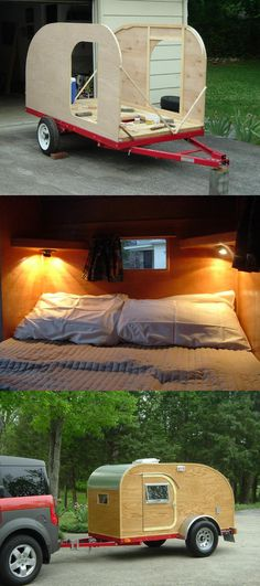 Diy Camper Ideas Space Saving And Become Better Camping Trailers Camping Trailer Diy, Trailer Build, Camping Hacks, Camping Gear, Outdoor Camping, Trailer Tent, Camping Outdoors, Building A Teardrop Trailer, Teardrop Campers