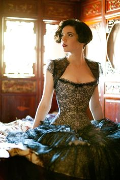 over-bust corset with shoulder piece